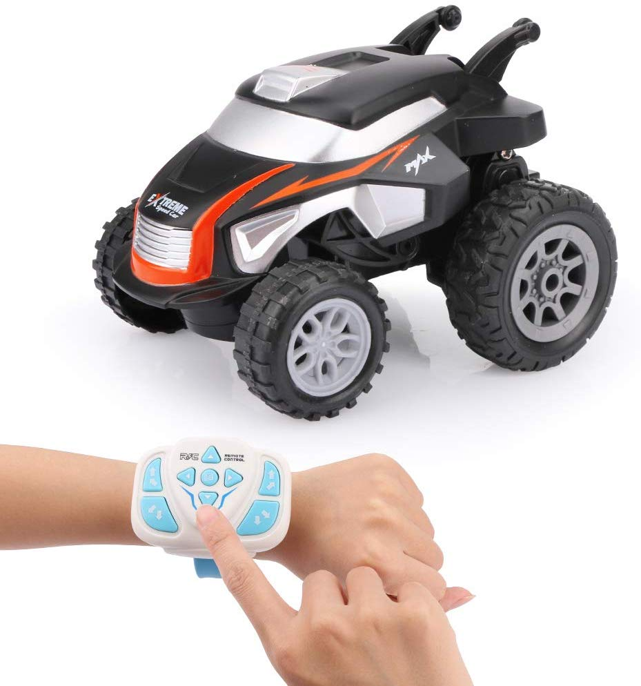 F121 RC Mini Stunt Car 2.4G Electronic Toys 360 Rotation RC Off-road Racing Car Watch Control RC Toy for Kids Orange
