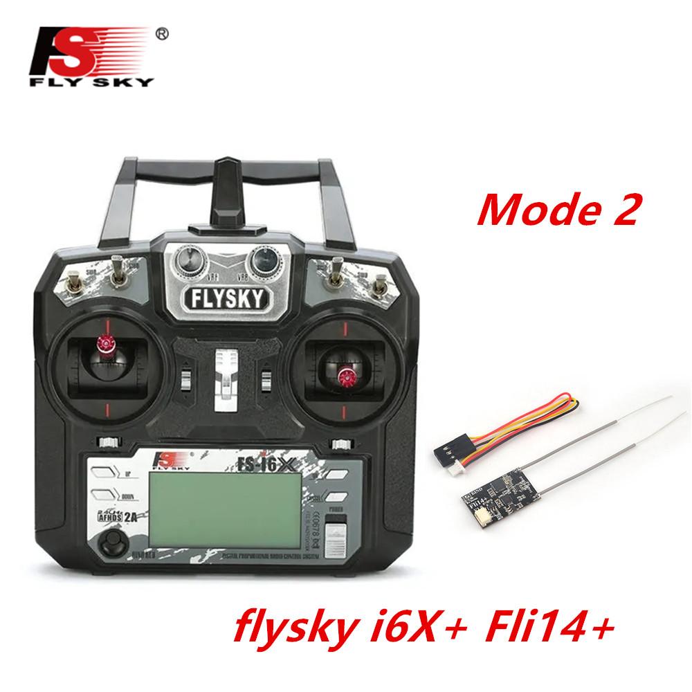 FLYSKY FS-i6X FS i6X 2.4GHz 10CH AFHDS 2A RC Transmitter X6B iA6B A8S iA10B iA6 Fli14+ Receiver for RC FPV Racing Drone Left hand single control+Fli14+
