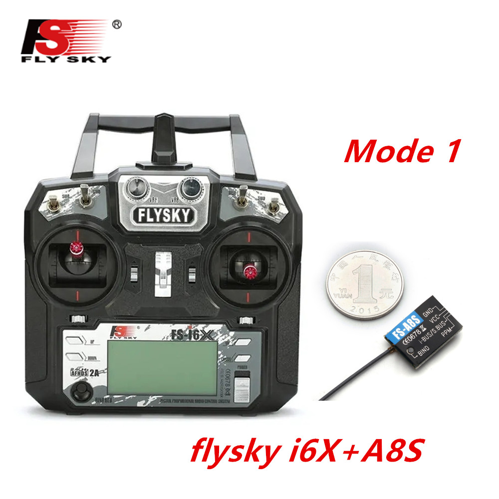 FLYSKY FS-i6X FS i6X 2.4GHz 10CH AFHDS 2A RC Transmitter X6B iA6B A8S iA10B iA6 Fli14+ Receiver for RC FPV Racing Drone Right hand single control+A8S