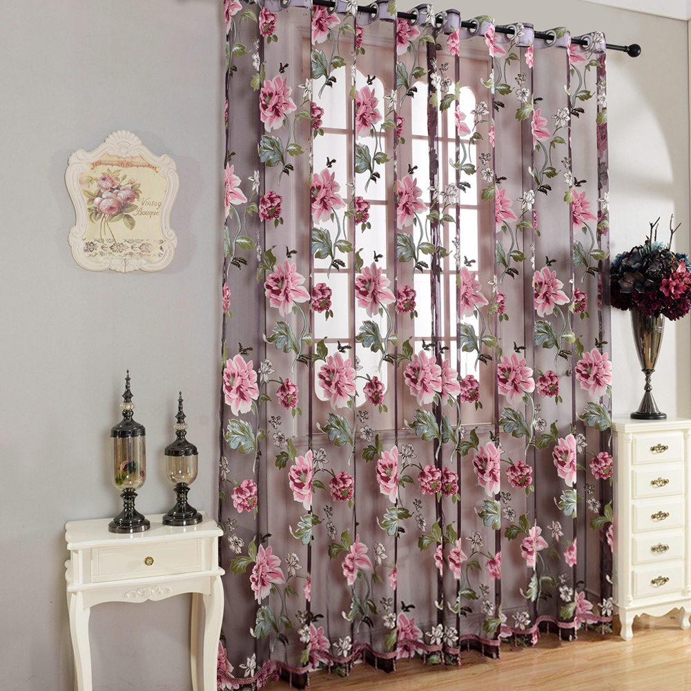 Peomies Embroidered Curtain with Holes Beads Light Transmission Door Window Curtain for Living Room Bedroom 1PC purple_1*2.5 meters high