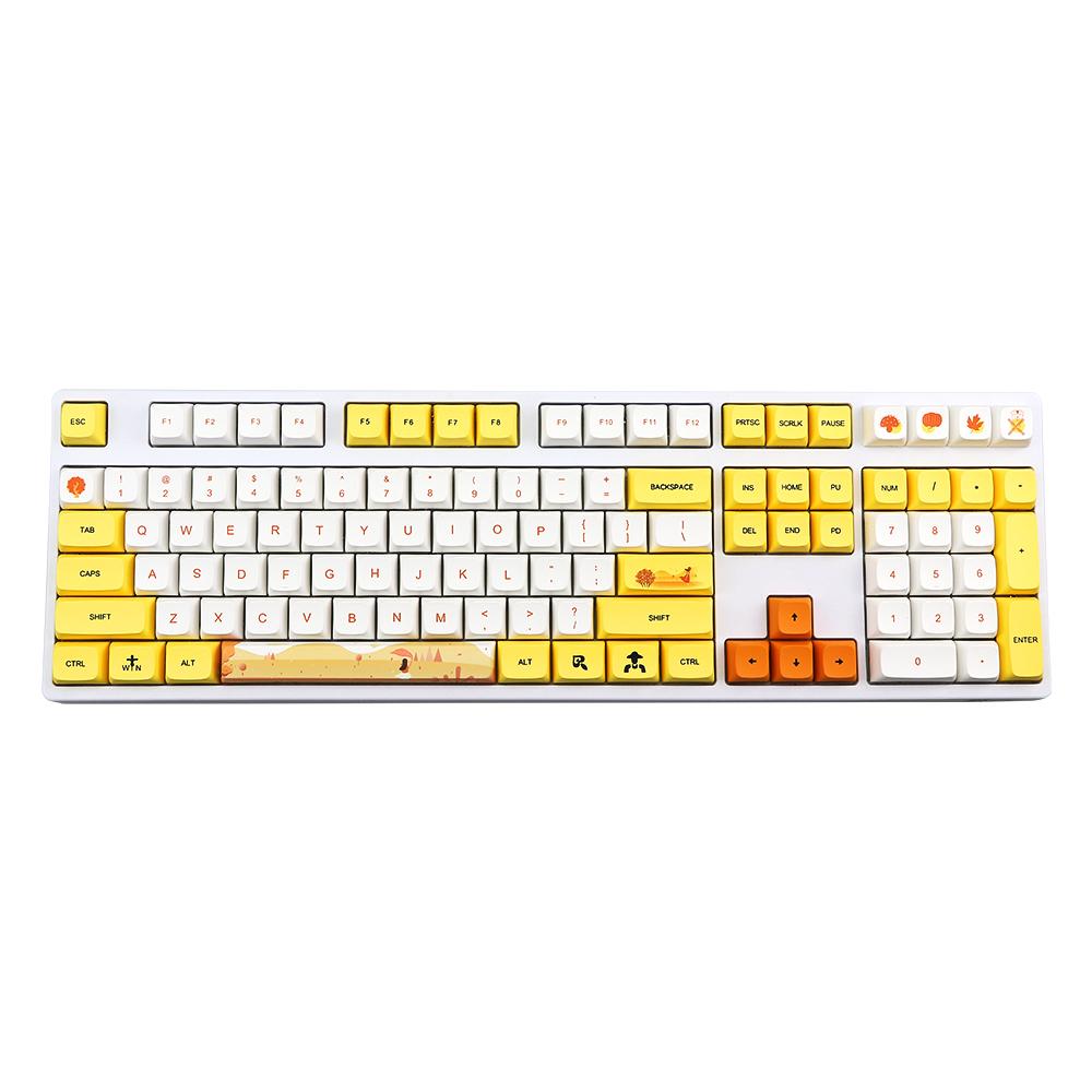 1 Set Of Keyboard Keycaps 129-key Pbt Printing Sublimation Mechanical Keyboard Keycap yellow