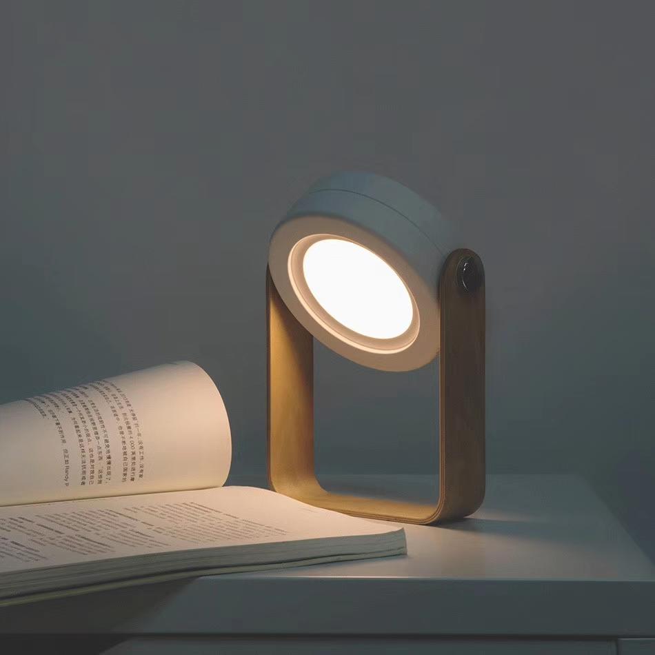 Wooden Handle Portable Lantern Lamp Telescopic Folding Led Table Lamp Charging Night Light Reading Lamp white