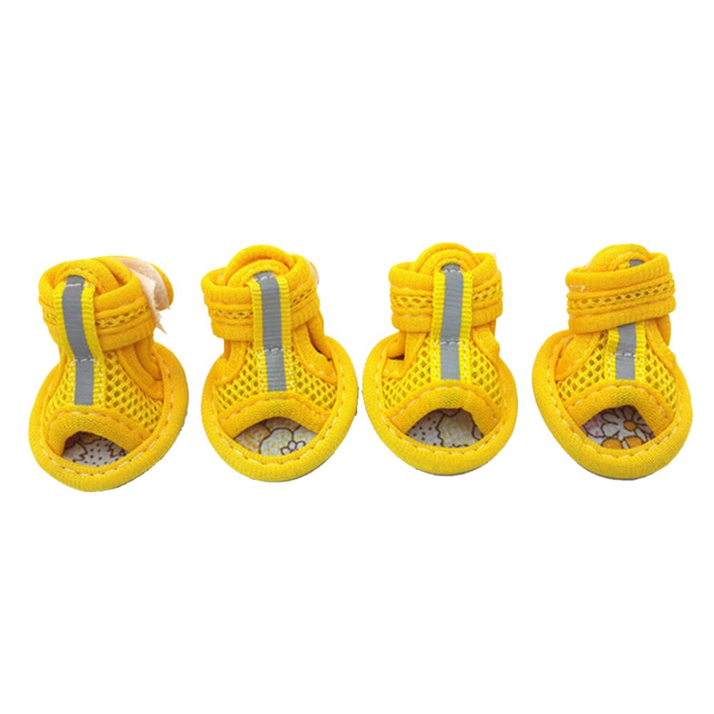 4 Pcs/set Pet Shoes Tendon Bottom Mesh Breathable Sandals For Dogs yellow_number 1