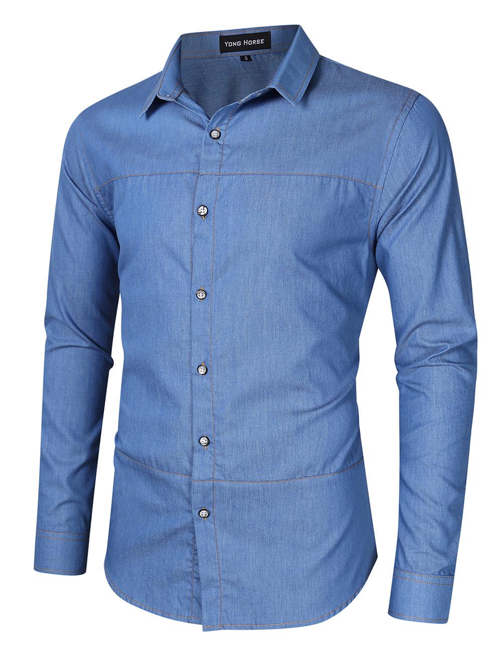 [US Direct] Yong Horse Men's Casual Slim Fit Button Down Long Sleeve Denim Shirt Blue_XXL