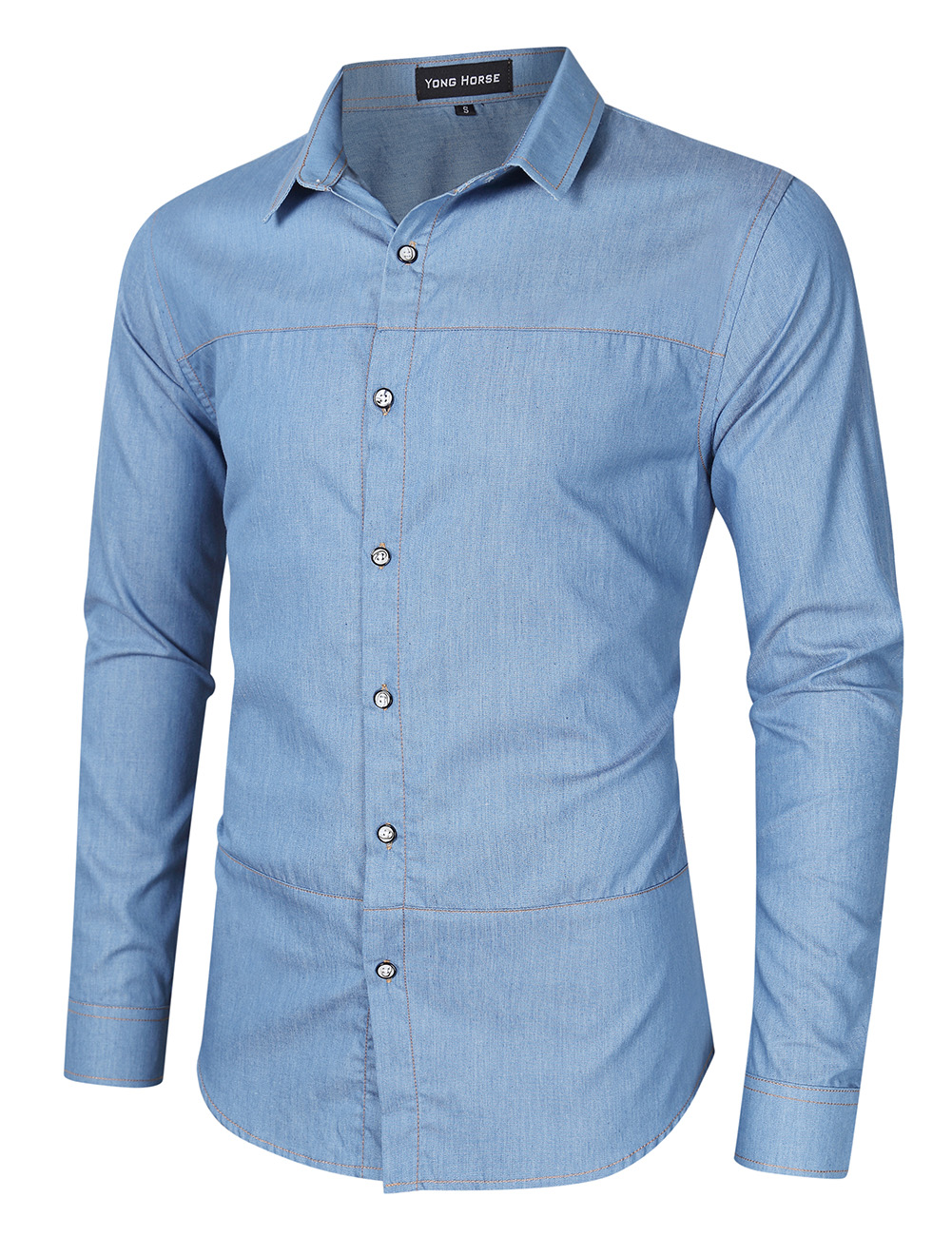 [US Direct] Yong Horse Men's Casual Slim Fit Button Down Long Sleeve Denim Shirt Light blue_L