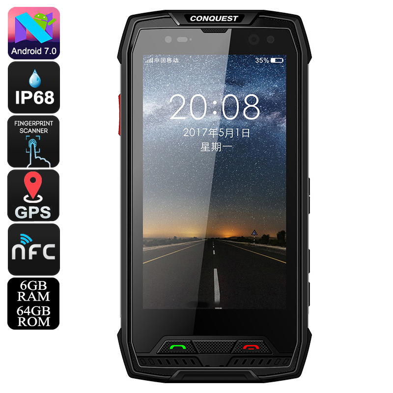 Conquest S11 Rugged Phone (64GB - Black)