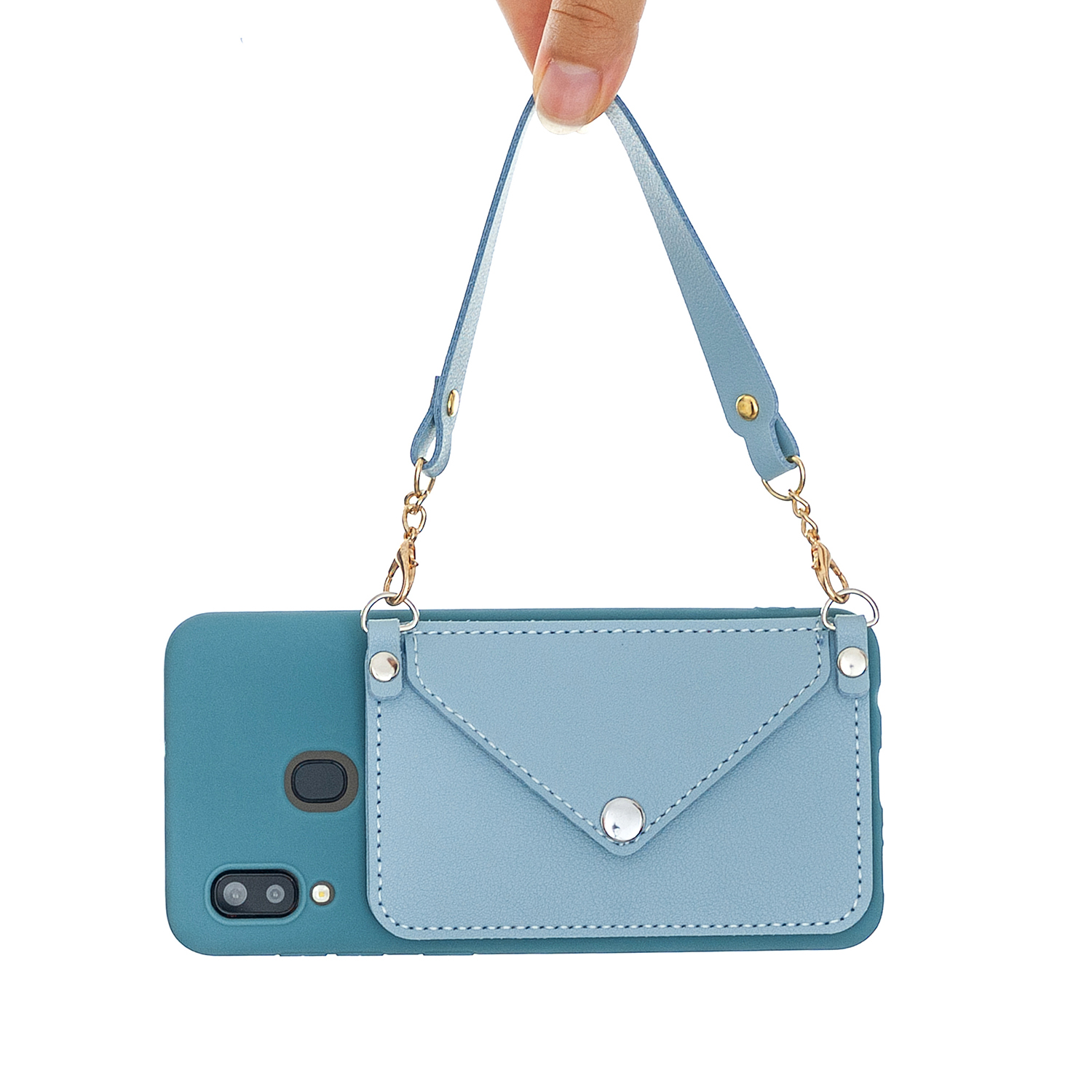 For HUAWEI P20/ P20 Lite/P20 Pro Mobile Phone Cover with Pu Leather Card Holder + Hand Rope + Straddle Rope blue