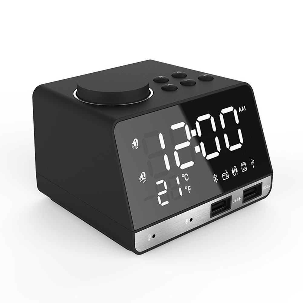 Rechargeable Multifunction Bluetooth Speaker Double USB Ports Bluetooth Voice Box with Alarm Clock Radio Black European regulations