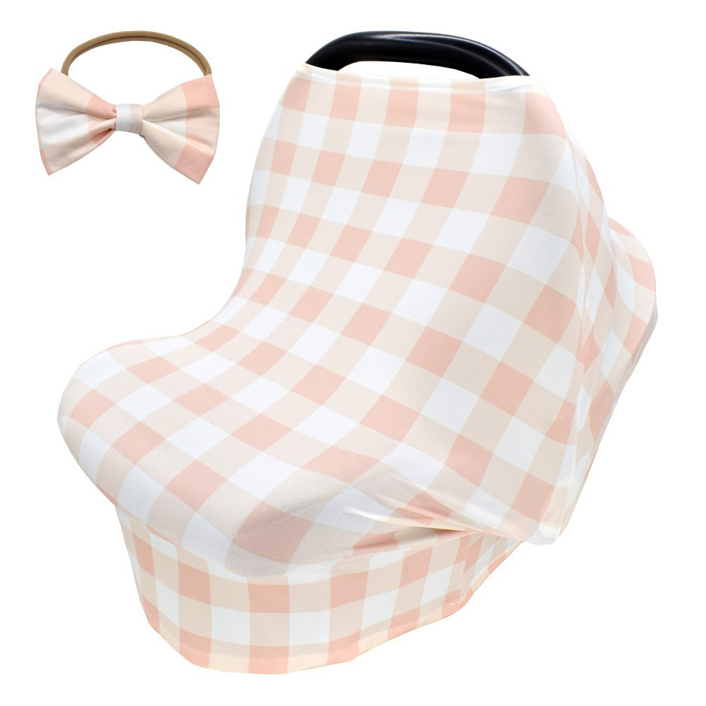 2pcs Stretchy Baby Car Seat Cover + Baby bow headband Multiuse - Nursing Breastfeeding Covers Car Seat Canopies  Meat pink tartan design