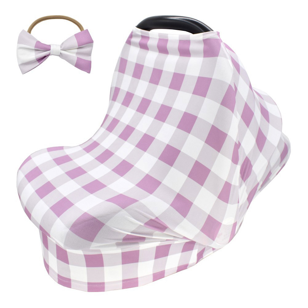 2pcs Stretchy Baby Car Seat Cover + Baby bow headband Multiuse - Nursing Breastfeeding Covers Car Seat Canopies  Light purple tartan design