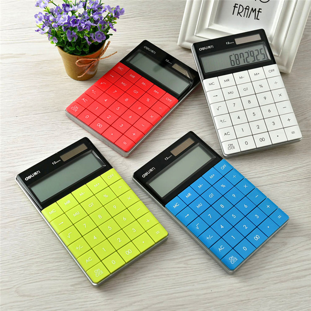 Dual Power Calculator of Large Buttons Portable Counting Machine School Office Supplies Lake Blue