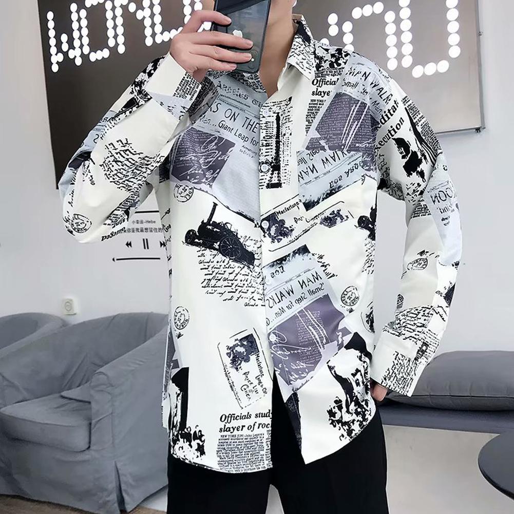 Men Autumn Fashion Vintage Printing Shirt Long Sleeve Coat Tops 9930 white_2XL