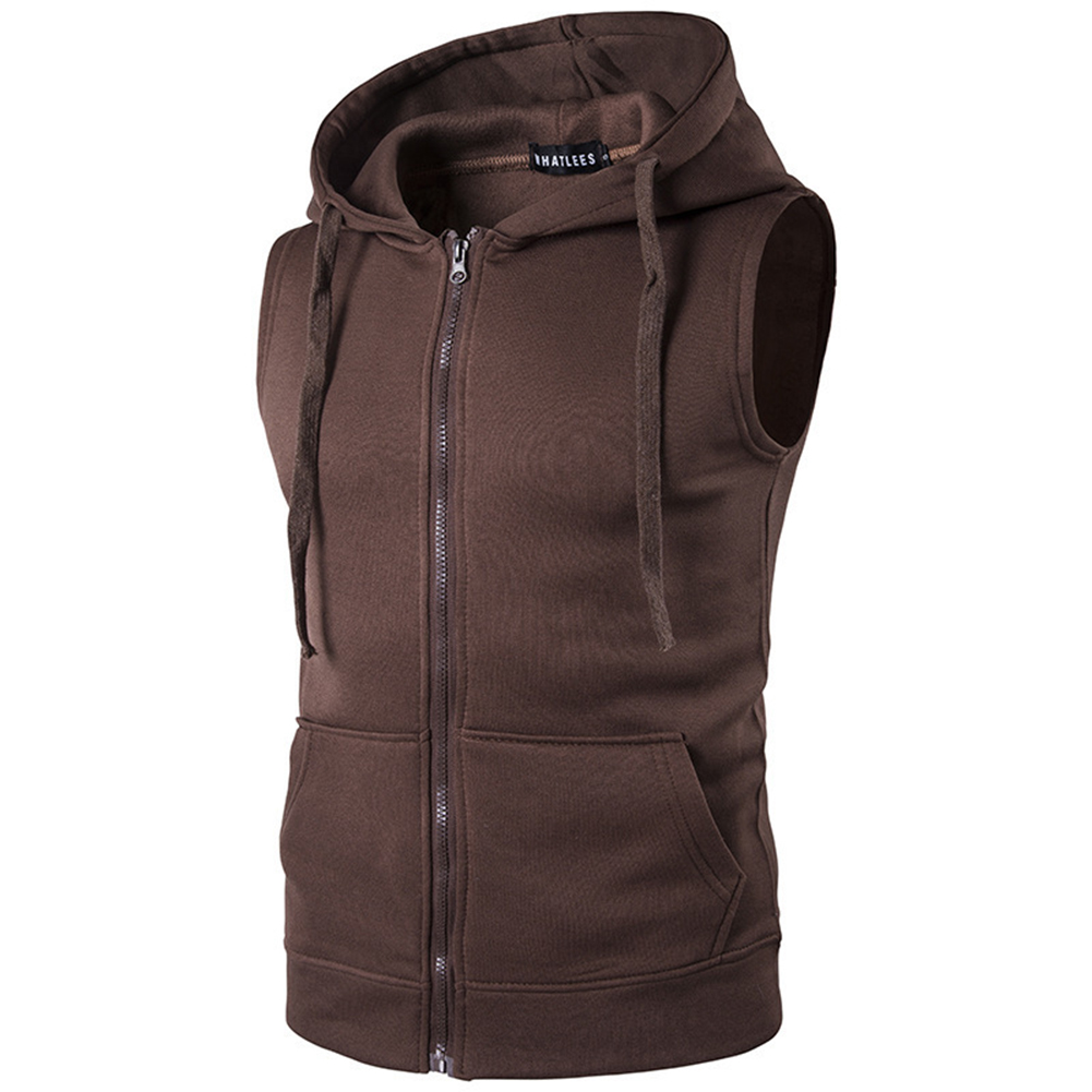 Men Women Sleeveless Hooded Tops Solid Color Zipper Fashion Hoodies  coffee_L