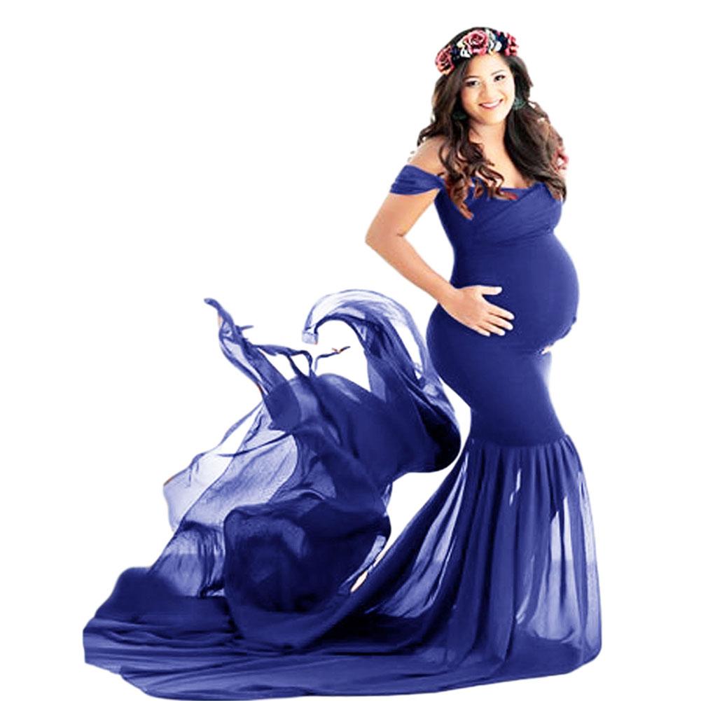 Women's Dress Off-the-shoulder Long Photography Chiffon Dress Color blue_free size