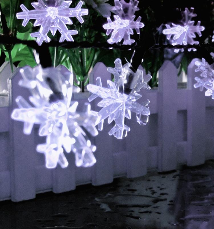 6M 30LEDs Solar Powered Snowflower Shape String Light for Decoration White light_(ME0004301)