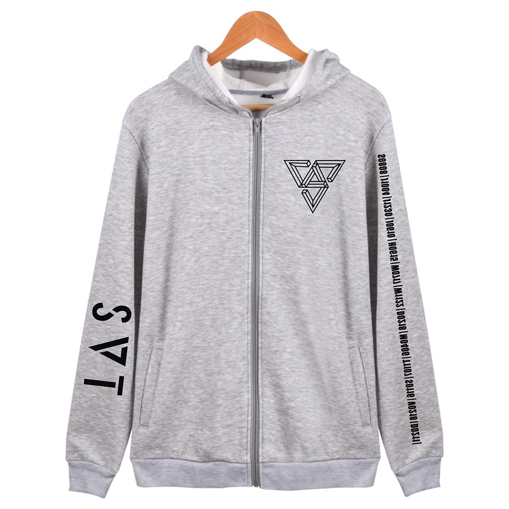 Women Men SEVENTEEN SVT Concert Autumn Zipper Sweater Coat Jacket Tops gray_XXXL