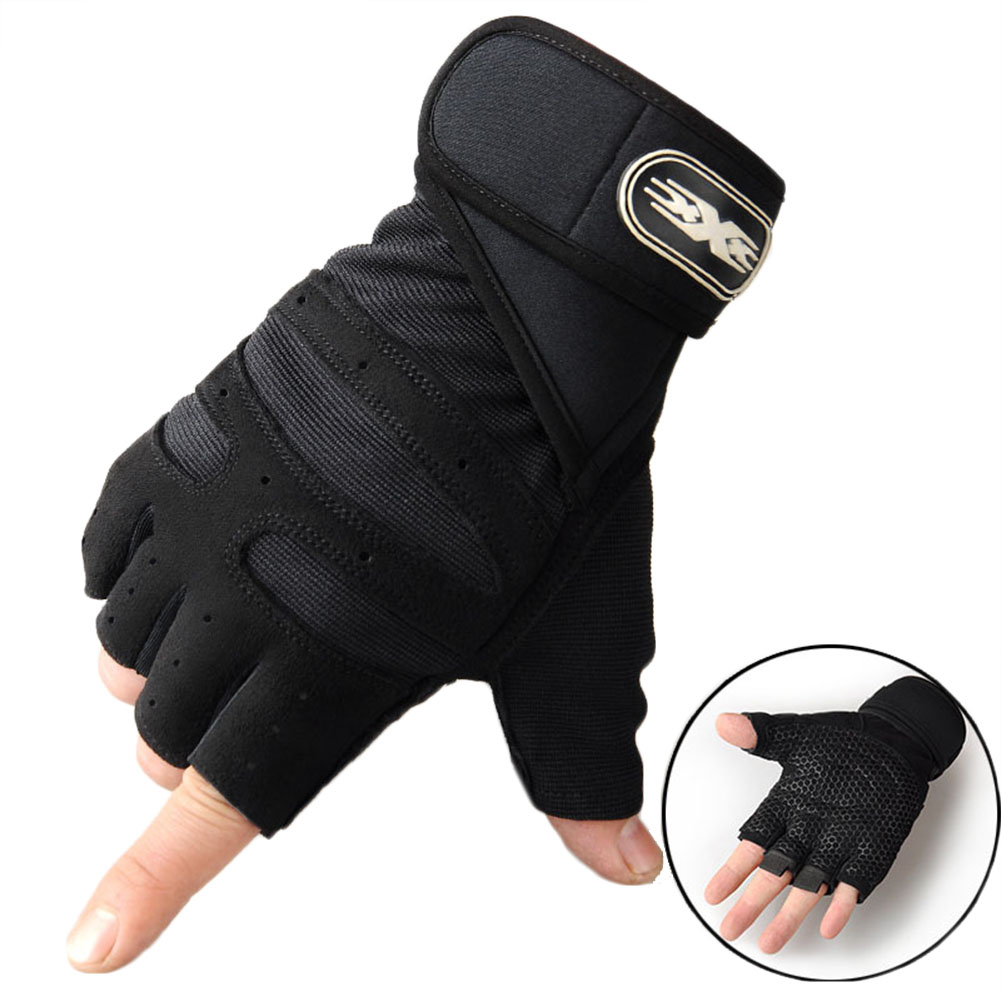 Man Anti-Skid Half Finger Gloves Comfortable Breathable Sports Gloves for Outdoor Sports Cycling Weightlifting black_M