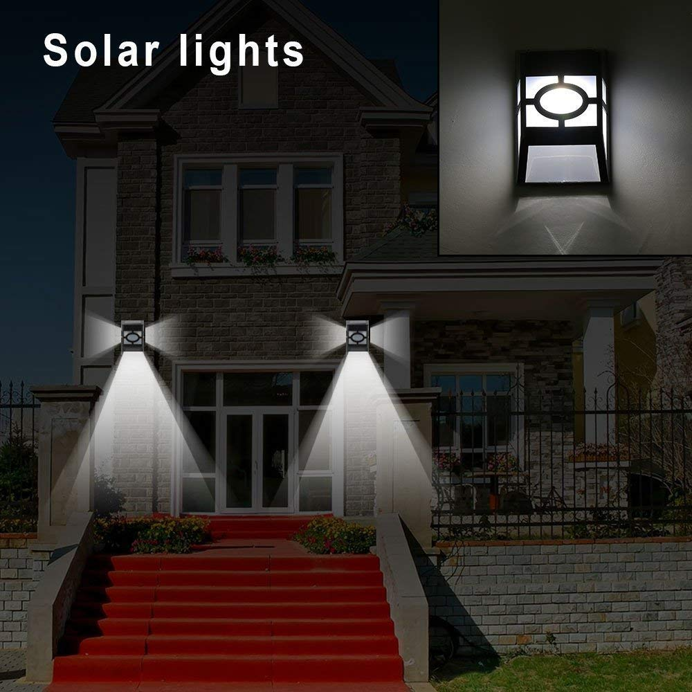 2LEDs Solar Powered Led Light Outdoor Waterproof Wall Mount Garden Path Landscape Yard Lamp 2LED white light + RGB