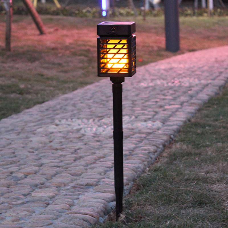 LED Solar Flame Light USB Rechargeable Outdoor Torch Light Landscape Decoration black