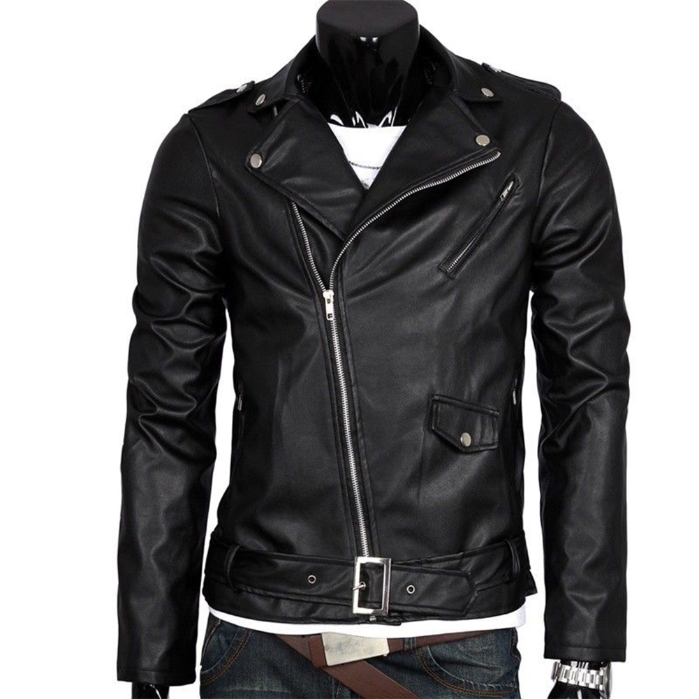 Men Leather Jacket Slim Fit Motorcycle Jacket Zipper Casual Coat Spring Autumn Winter black_M