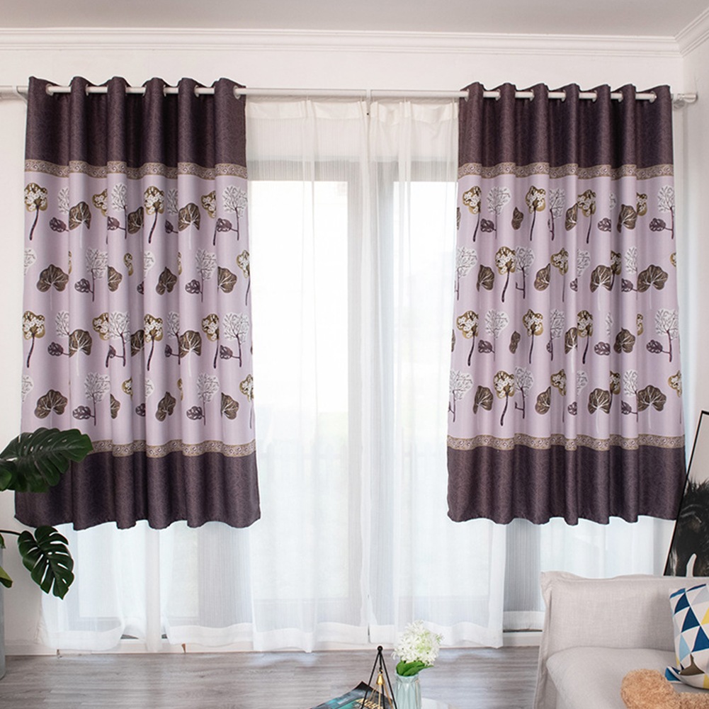 100*200cm Blackout Curtain Leaf Print Perforated Drapes for Home Bedroom Balcony Decoration Coffee color_100*200cm (W*H)