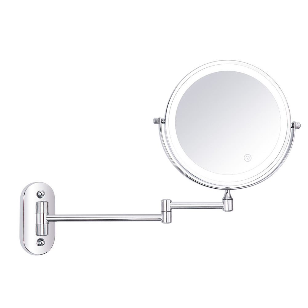 8-inch Folding Led Makeup  Mirror Wall-mounted Double-sided Mirror With Light+5 Times Magnifier Rechargeable