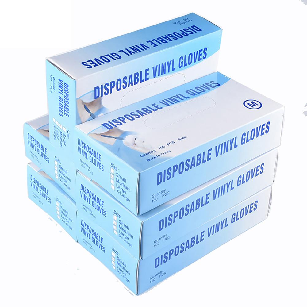 100Pcs Disposable Gloves Transparent Gloves Medical PVC Food Grade Latex Gloves M-100 pcs / box