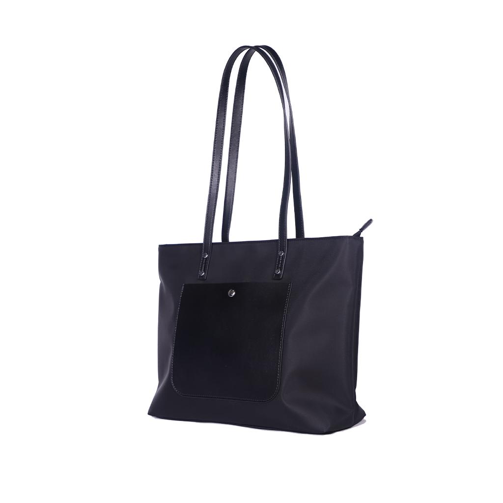 Women Fashion Single  Shoulder  Bag Simple Casual Large-capacity Drone Storage Bag Black + silk scarf