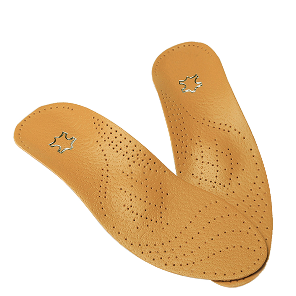 Leather Orthotics Insole for Flat Foot Arch Orthopedic Silicone Insoles for Men and Women brown_38