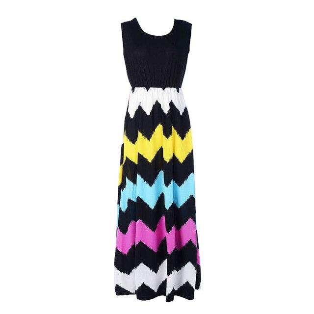 Patchwork Striped Wave High Waist Women Sundress Boho 2018 Summer O-neck Sleeveless Long Maxi Dress Party Vestidos