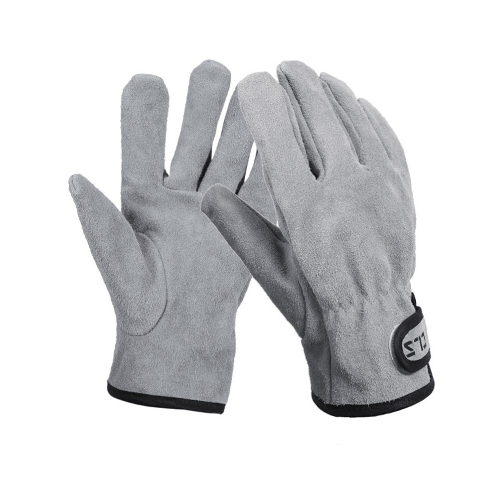 Gloves For Bbq Grill Welding Work Heat Resistant Leather Oven Safety Gloves Silver gray