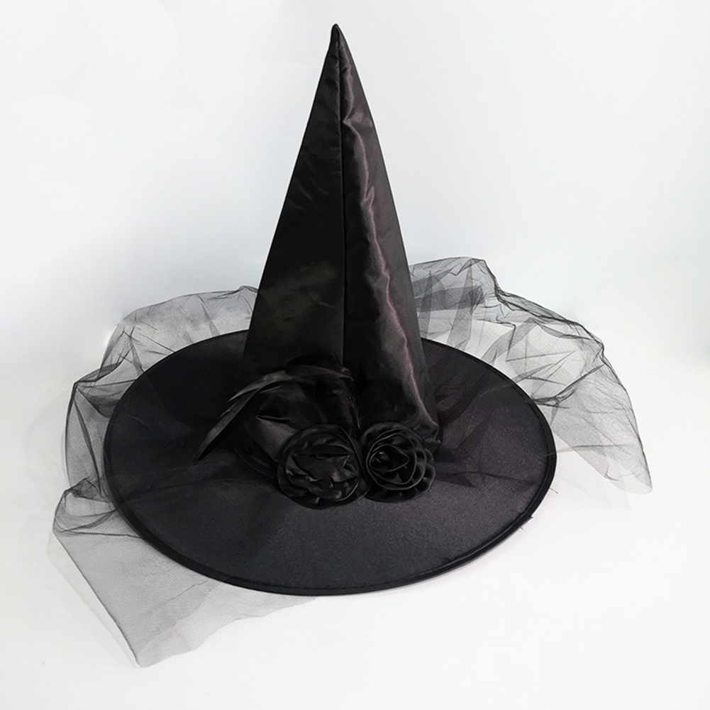 Adult Halloween Costume Ball Party Feather Rose Flower Tulle Veil Net Witch Cap Hat black