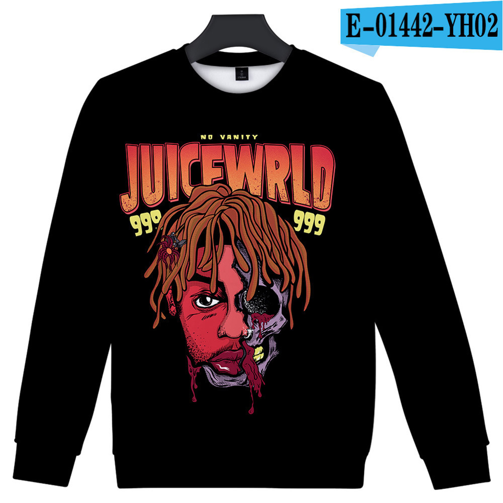 Men Women Sweatshirt Juice WRLD Portrait Flower Skull Crew Neck Unisex Loose Pullover Tops E-01442_XL