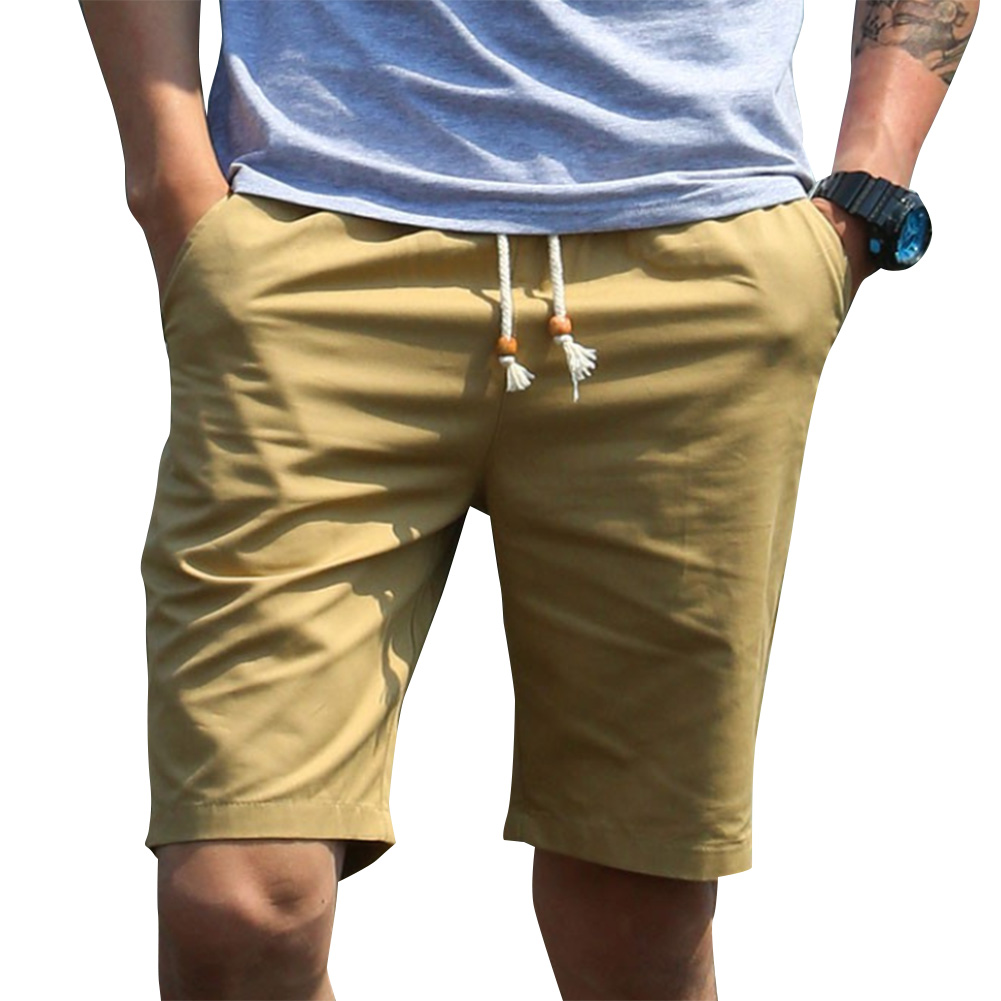 Men Simple Casual Beach Shorts  Dark khaki_L