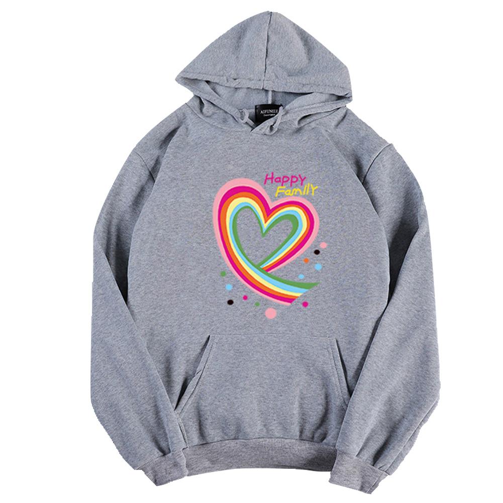 Men Women Hoodie Sweatshirt Happy Family Heart Thicken Loose Autumn Winter Pullover Tops Gray_S