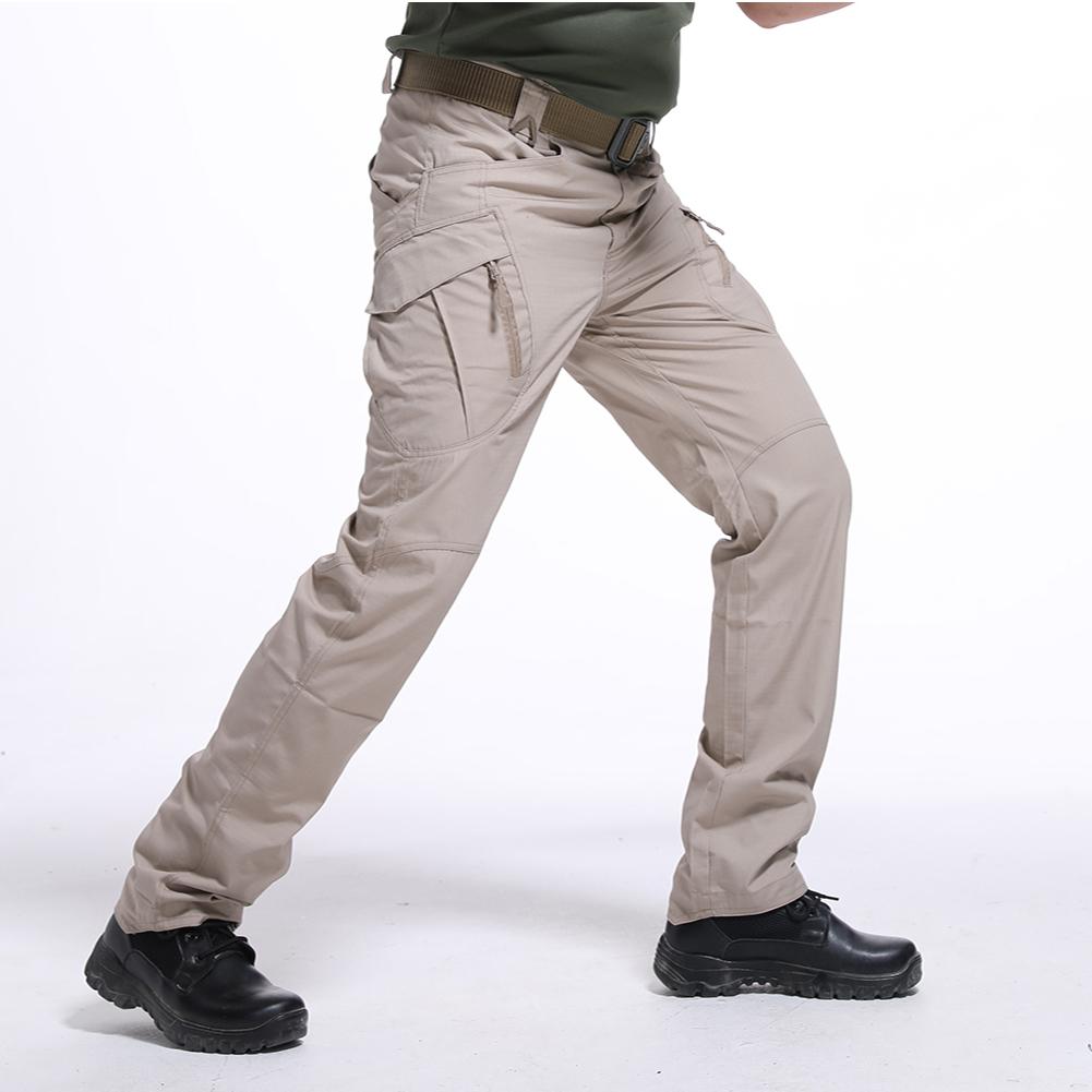 Men Wear-resistant Sport Zipper Trousers Casual Trousers Pants  Khaki ix9 waterproof_XXL