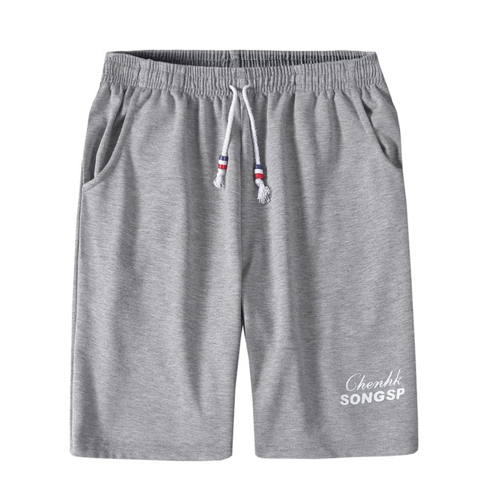 Men Simple Casual Loose Comfortable Fifth Pants Homewear gray_L
