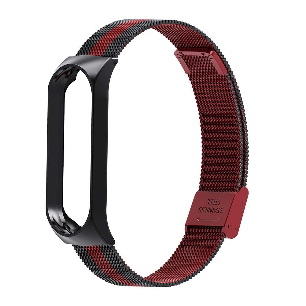 Smart Watch Buckle Wrist Strap Replacement Bracelet Stainless Steel for Xiaomi Mi Band 4 Watch Band  Black red
