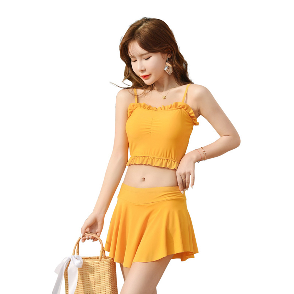 2 Pcs/set Women Swimsuit Lace Solid Color Sling Top + Swimming Skirt yellow_l