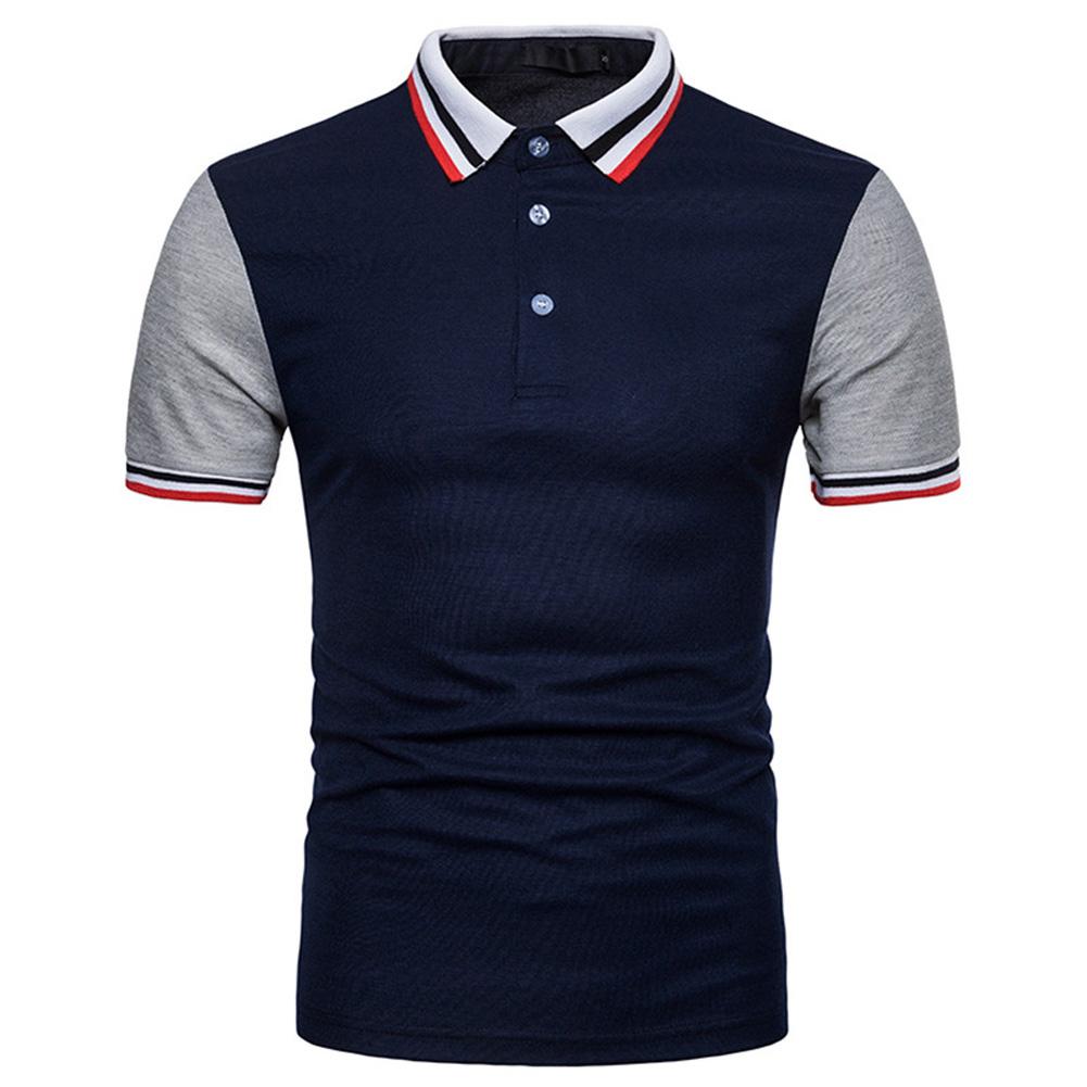 Men Summer Fashion Threaded Collar Short Sleeve POLO Shirt Tops Navy_L