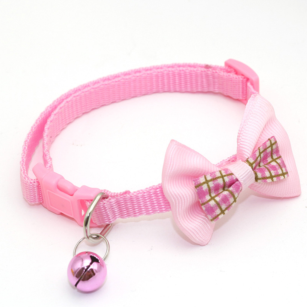 Pet Plaid Bowknot Collar for Cat Dog Adjustable Collar with Bell  Pink_1.0