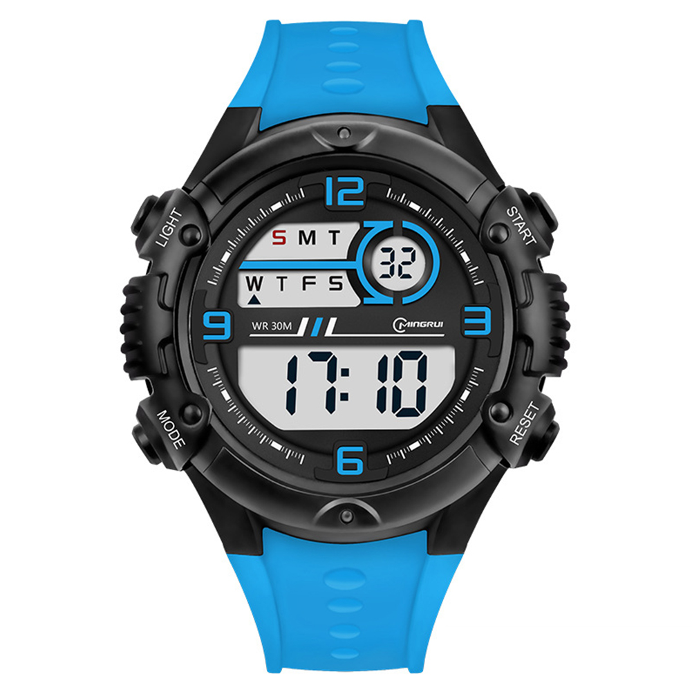 Students Electronic Watch Sports Fashion Simple Wristwatches Multi-functional Watch Sea blue