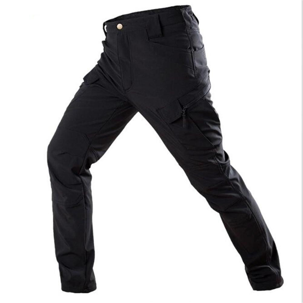 Men Soft Water-proof Sports Tactical Pants Fleece Linning Outdoor Casual Pants