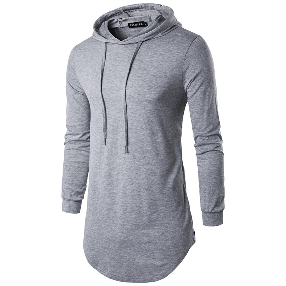 Unisex Fashion Hoodies Pure Color Long-sleeved T-shirt Light gray_XL
