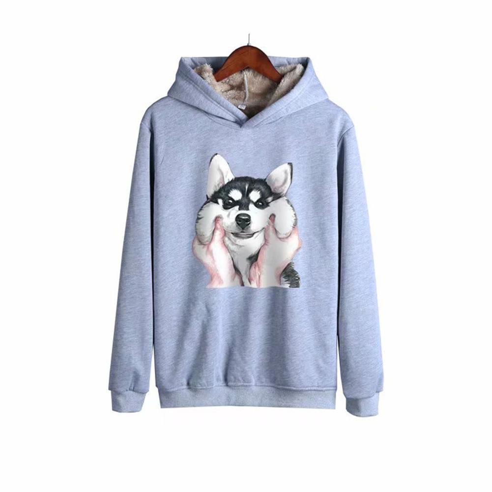 Men Autumn Winter Pullover Hooded Sweater Loose Long Sleeve Fleece Line Tops Hoodie dog-gray_L