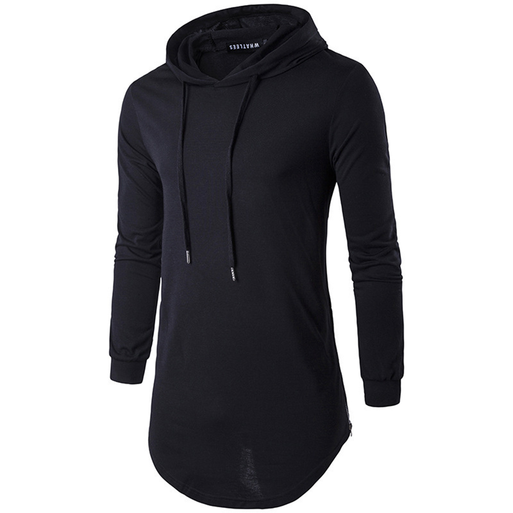 Unisex Fashion Hoodies Pure Color Long-sleeved T-shirt black_XXL