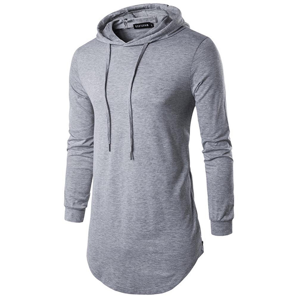 Unisex Fashion Hoodies Pure Color Long-sleeved T-shirt Light gray_L