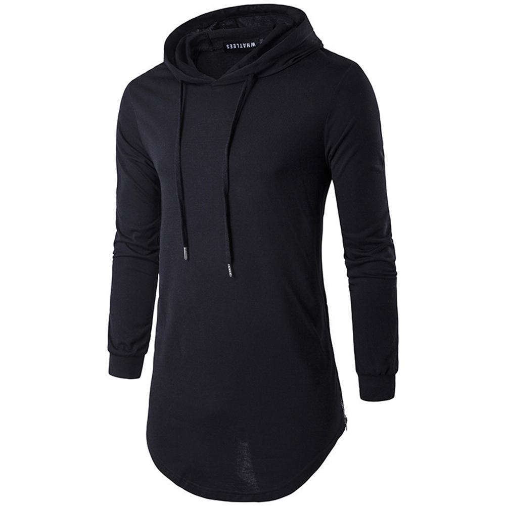 Unisex Fashion Hoodies Pure Color Long-sleeved T-shirt black_L