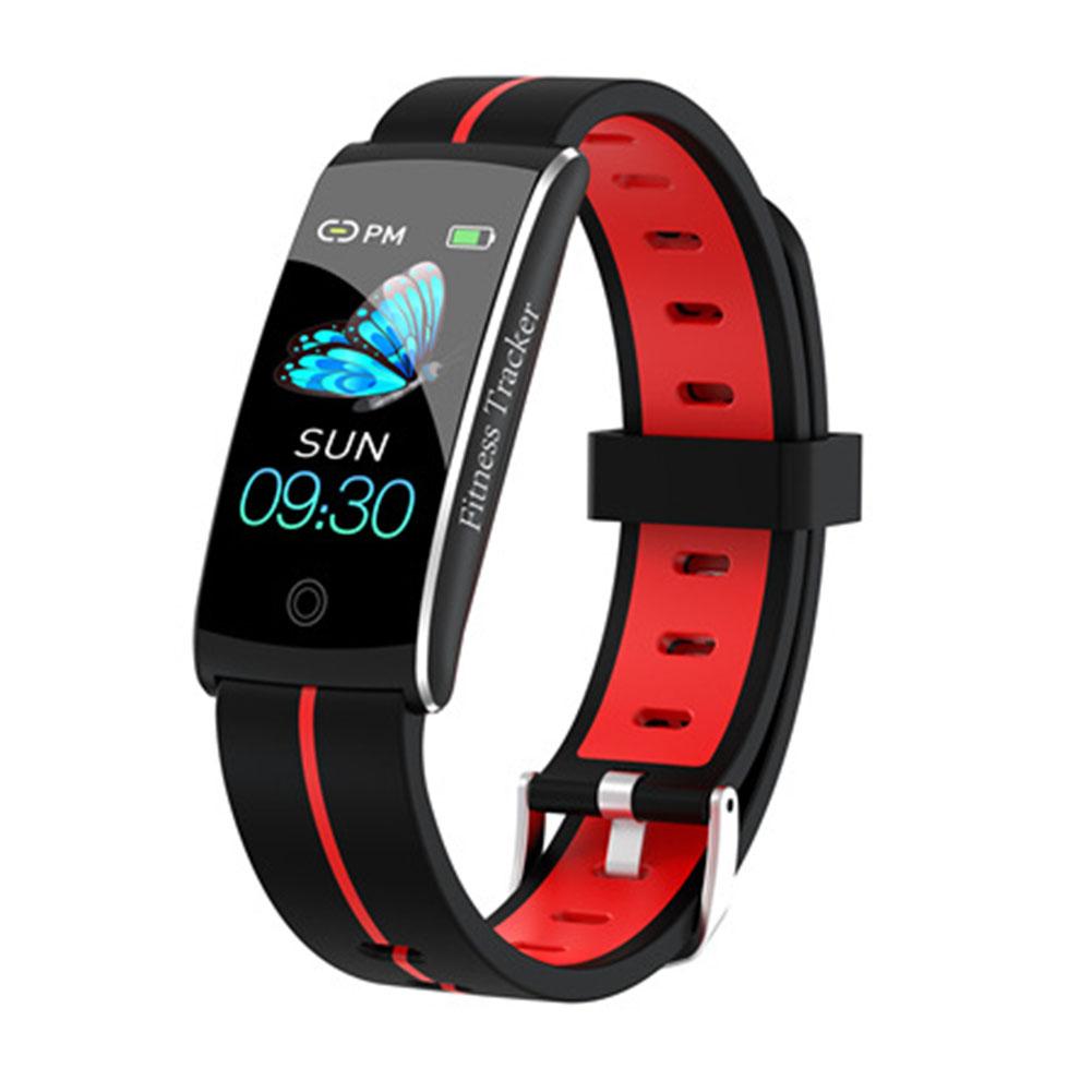 F10C Color Screen Smart Bracelet Heart Rate Blood Pressure Intelligent IP68 Waterproof Bracelet  Black red