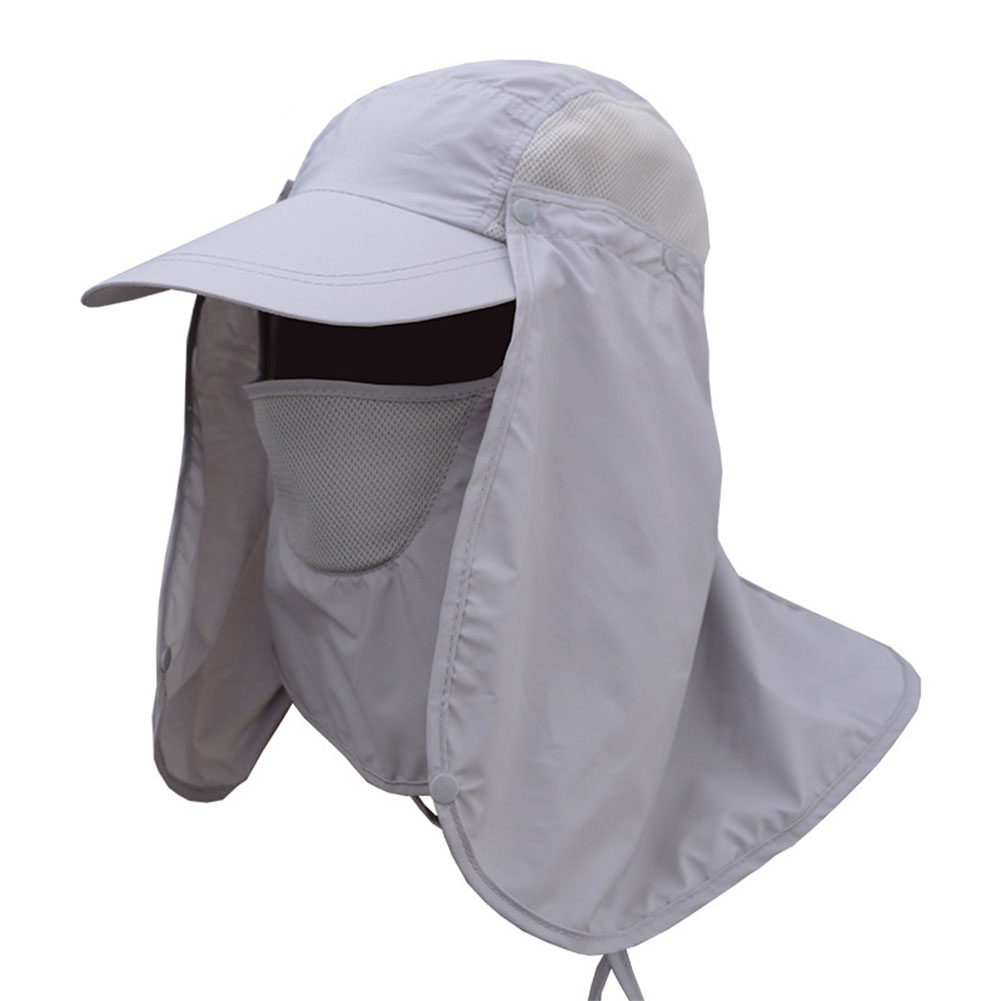 Men and Women Outdoor Sun Protection Fishing Hat with Detachable Face Neck Cover Flap, Summer Cycling Quick Drying Cap Light grey
